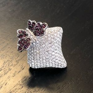 Jewelry - Pave-Crystal butterfly silver tone ring